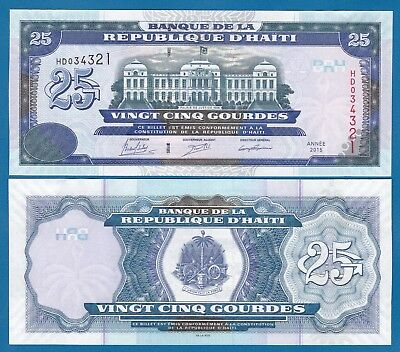 P-266f Punctual Timing Combine Free Haiti 25 Gourdes P 266 F 2015 Unc Low Shipping