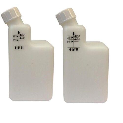Confezione da 2 di 1Ltr 2-tempi di miscelazione bottiglia MIX pre 40//1 25//1 32//1 50//1