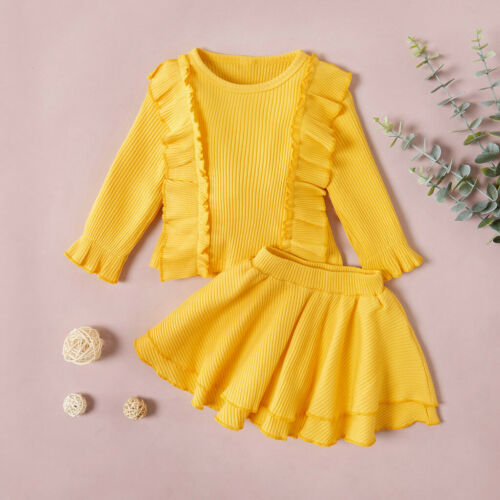Toddler Kids Baby Girls Solid Tops Skirt Knit Crochet Sweater Outfits Clothes