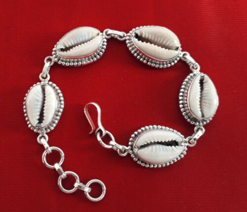 925 Solid Sterling Silver Natural Sea Shell Cowrie Tribal Sizable Bracelet JCB01