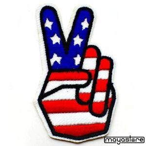 Parche-Para-Coser-PEACE-Hand-USA-AMERICA-Stars-Planchar-Rockabilly-3-85