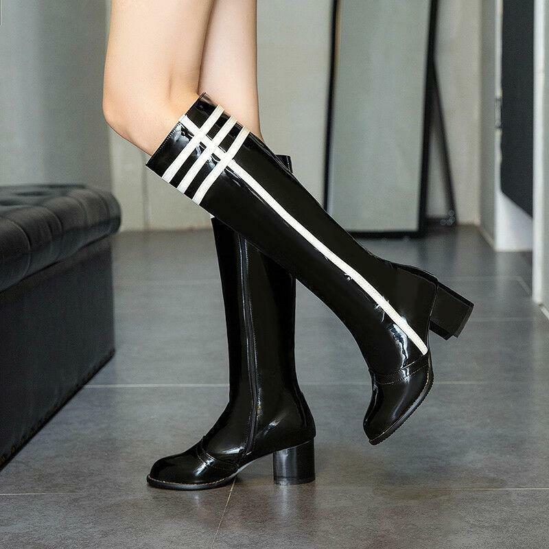 2019 Damen Stiefel Kneehohe Lackleder Schuhe Gr.34-48 Blockabsatz Ritter Stiefel