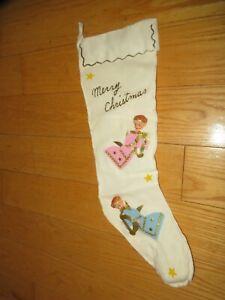 Vintage-Christmas-Stocking-Angel-Music-Box-Musical-Glitter-034-Santa-Claus-034-D414