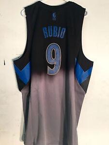 best sneakers a2e6d ab0be Details about Adidas Swingman Jersey Minnesota Timberwolves Ricky Rubio  Black Fadeaway sz XL