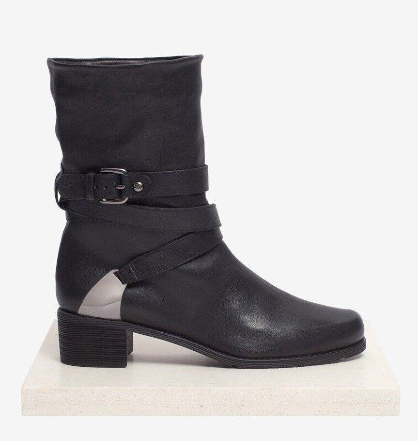 Stuart Weitzman Weitzman Weitzman schuhe Ranch Dressing Motorcyle Ankle Stiefel schwarz leather 10  535 f70c4f