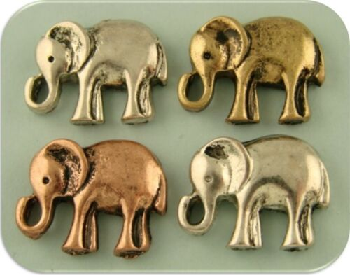 Elephant Beads African Bush Safari Tusk 3T Metal 2 Hole Sliders Bracelet QTY 4