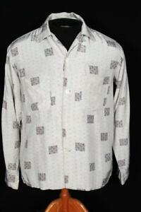 RARE VINTAGE 1950'S LIGHT GRAY SILKY RAYON PRINT SHIRT SIZE SMALL