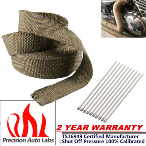 "High Temperature 2/"" x 50ft Titanium Header Manifold Exhaust Wrap Roll Zip Tie"