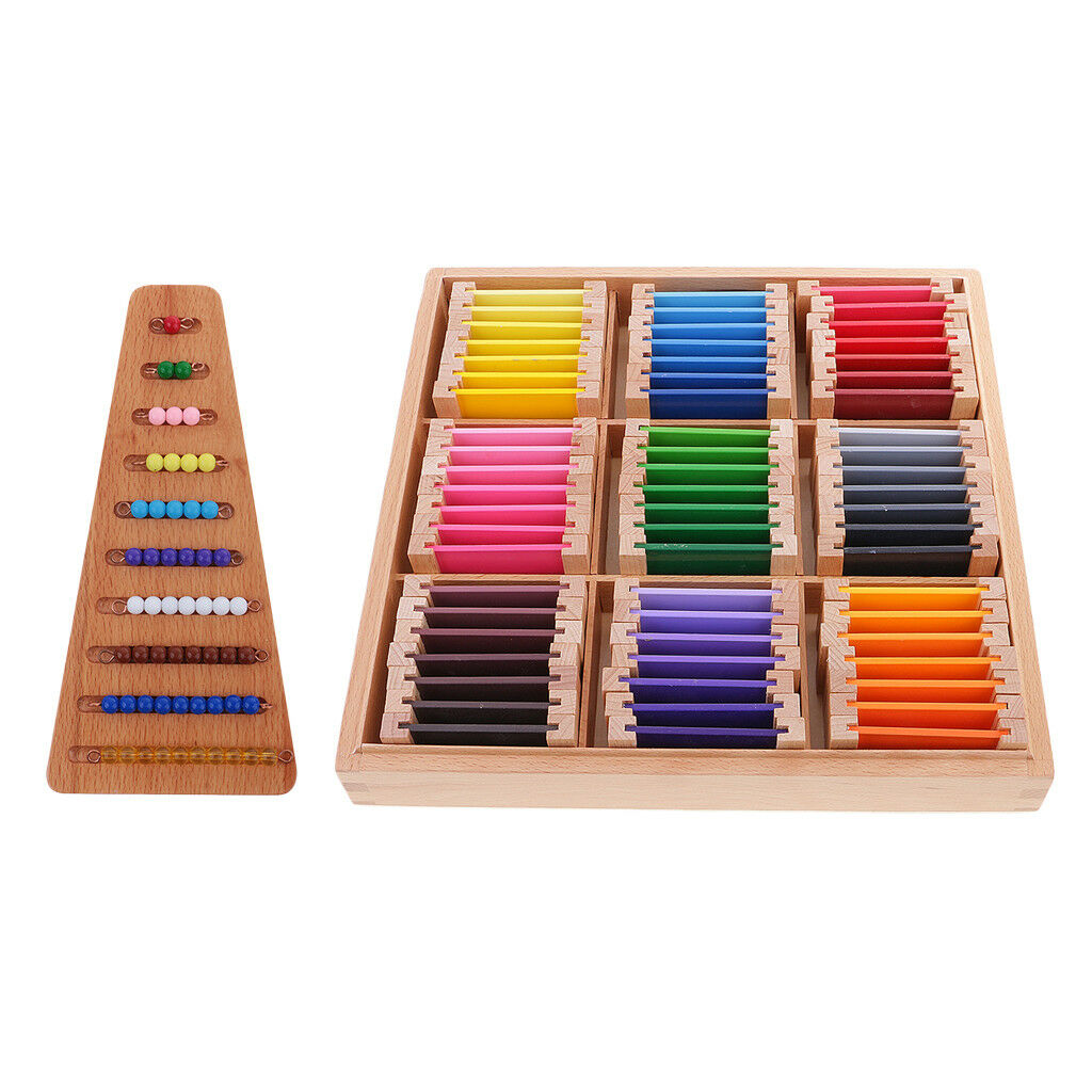 2 Family Set Montessori Kids Learning Toy Bead Stairs + Colour Tablets Box