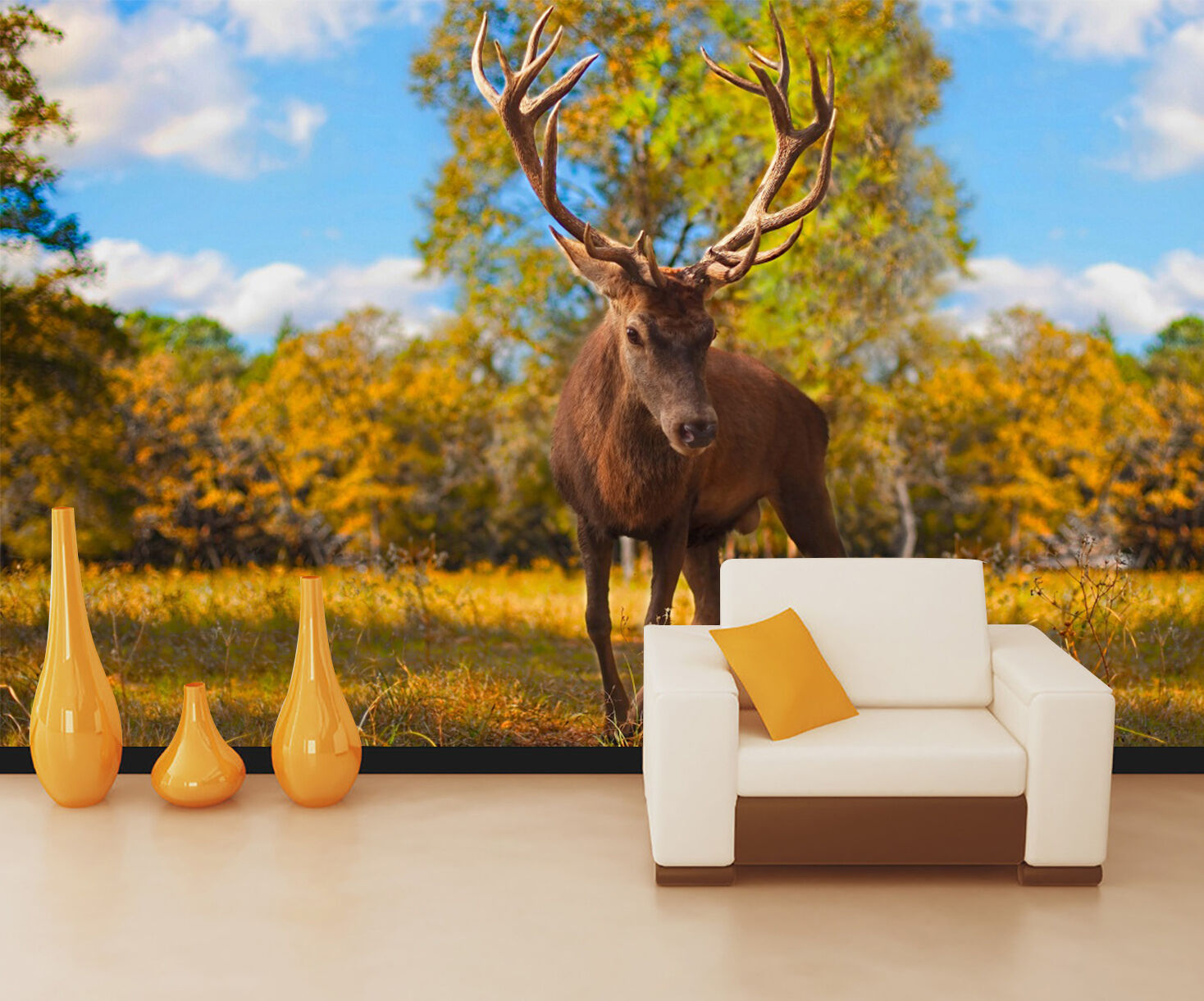 3D Forest Deer 664 Wall Paper wall Print Decal Wall Deco Indoor wall Mural