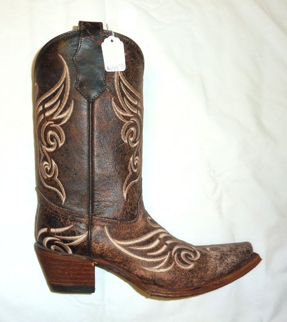 Circle G Corral L5002 Size 7M Womens Western Cowgirl Boots Distressed Bone NEW
