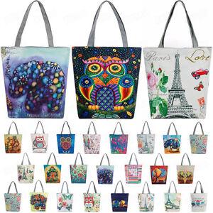 Women-039-s-Canvas-Tote-Shoulder-Handbag-Owl-Travel-Shopping-Satchel-Folding-Bags