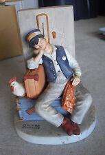 1980 Danbury Mint Porcelain Norman Rockwell Asleep on the Job Man Figurine