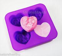 4 Cell Hearts FAIRIES / ELVES Silicone Soap Mould Mold Melt Pour Cold Process