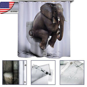 USA WC Shower Curtain Rideau Elephant Antibacterial Waterproof with ...