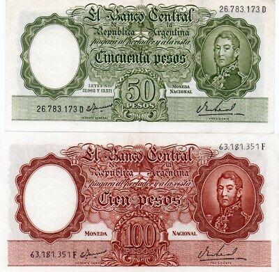 Argentina 50,100 Pesos 1955,1957 P-271.272 Unc