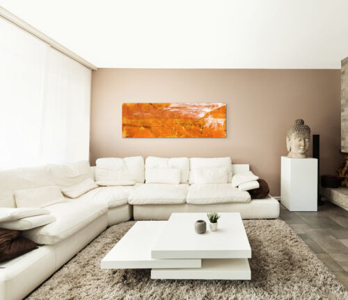 Leinwandbild Panorama orange gelb braun weiß Paul Sinus Abstrakt/_634/_150x50cm