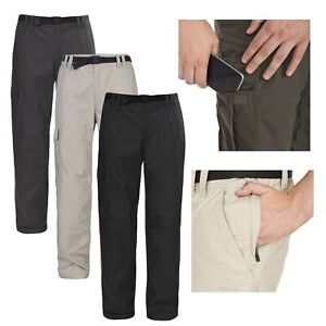 Trespass-Clifton-Mens-Walking-Trousers-Regular-Hiking-Pants-in-Black-amp-Khaki