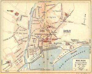 Spain Malaga 1921 Old Vintage Map Plan Chart Ebay