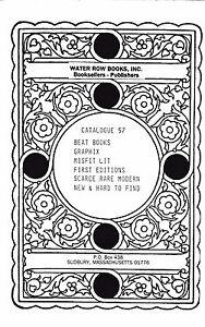 JACK KEROUAC WM BURROUGHS BUKOWSKI R. CRUMB WATER ROW BOOKS CATALOG #57 1992
