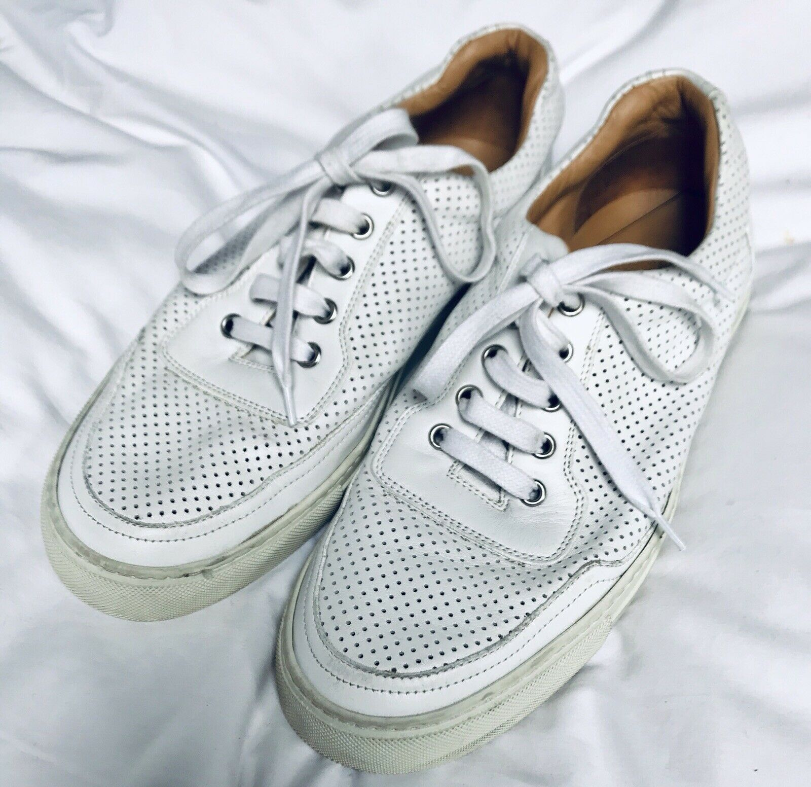 Mens White Perforated Trainers by Harrys Of London