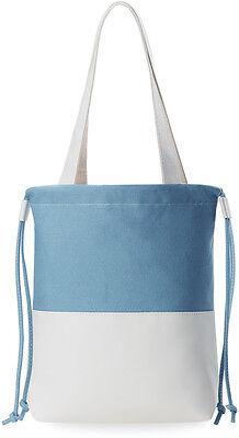 Leinen - Tasche Damentasche Beuteltasche Shopperbag himmelblau - weiß