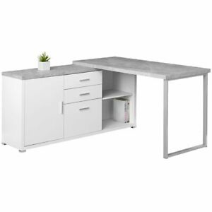 Details About Monarch L Shaped Corner Computer Desk In White And Gray Cement