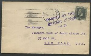 NEW-ZEALAND-to-USA-1916-Censored-Cover-VF