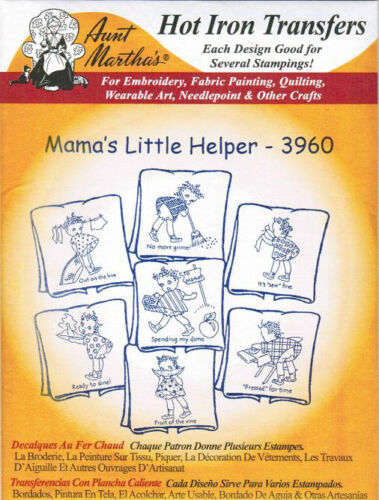Mama/'s Helper 3960 Aunt Martha/'s Embroidery Transfer Pattern black Americana
