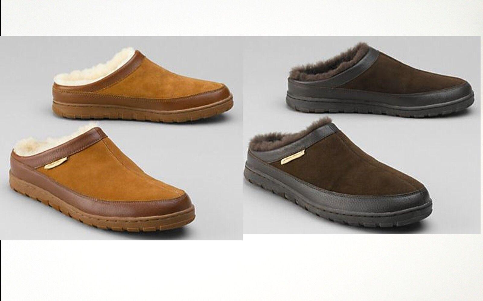Nuevo Para Hombre Eddie Bauer de piel de oveja de piel de oveja rozaduras Zapatillas Oscuro marrón tan al por menor  99