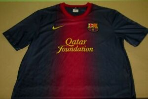 Authentic-FCB-Barcelona-Football-Soccer-Jersey-L-large-blue-nike-dri-fit-teddy