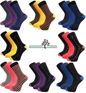3-Pairs-Mens-Alexander-Green-Plain-Spotted-or-Striped-Bamboo-Socks-Size-7-11
