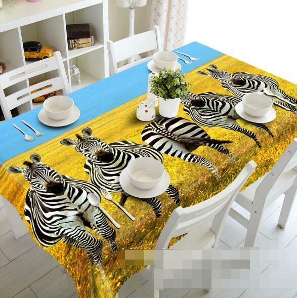 3D Lawn Zebras 08 Tablecloth Table Cover Cloth Birthday Party Event AJ WALLPAPER