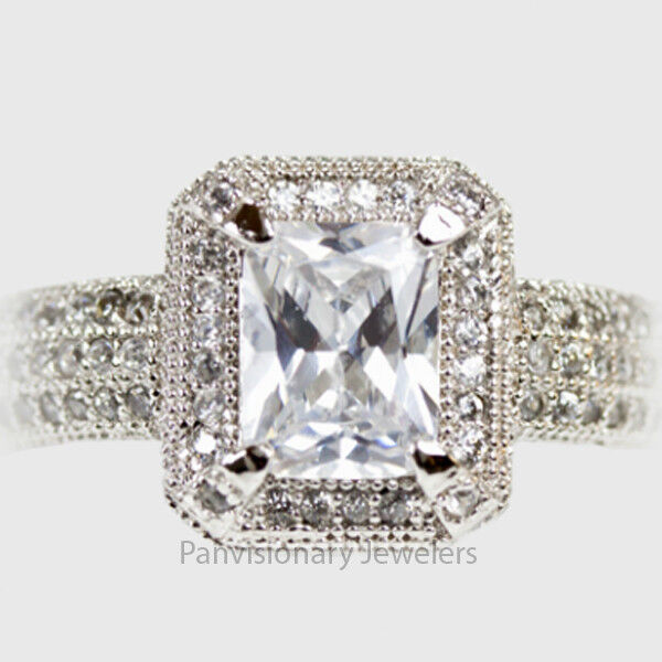 Sterling Engagement Ring Halo 8 x 6 mm Radiant Cut and Micro Pave CZ 925 Silver