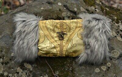 Silver and Brass Bee Ornament Gray Fur Hand Warmer Victorian Steampunk Muff Blue Silk