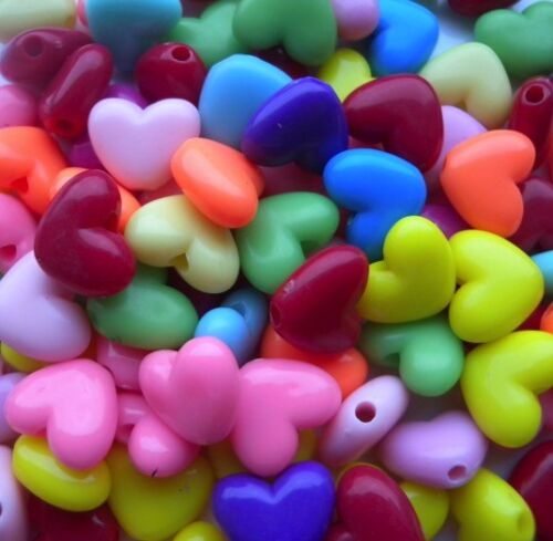 Fast Free Same Day Shipping❤️❤️ Beautiful 100 Shiny Heart Beads 14mm