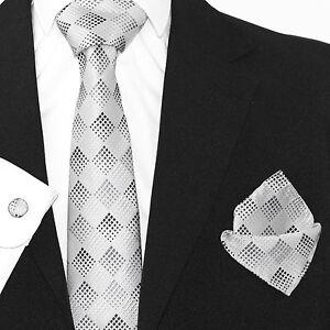 Mens Black Silver Geometrical Silk Woven Tie+Hanky    Cuflinks Matching Set  227 21fd7e85d0b