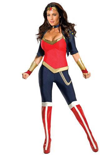 Adult Wonder Woman Fancy Dress Costume Deluxe Super Hero Costume W//Boot Covers