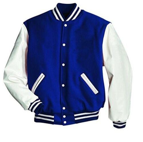 Original Windhound College  Jacke blau mit weißen  Echtleder Ärmel M