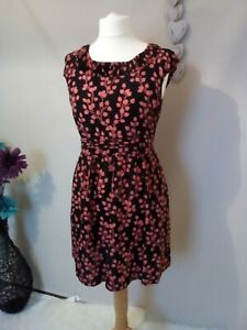 M-amp-S-Limited-Collection-size-12-black-floral-dress-with-pockets-100-silk-o2
