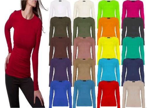 Ladies Women Long Sleeve Crew Neck Basic Plain Stretch Top T-Shirt PLUS SIZE