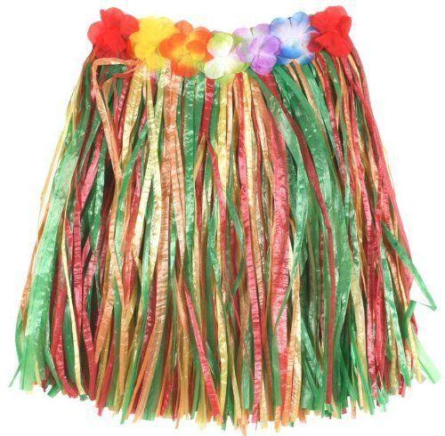 Childs Kids Flower Skirt Hawaiian fancy dress Party accessories Multi Colour