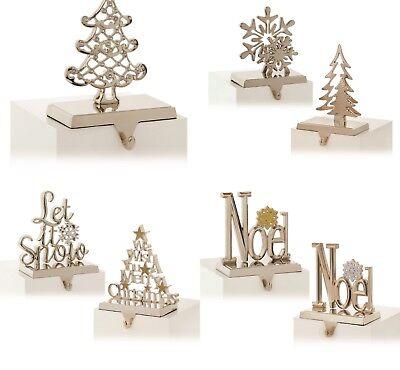 Color Bronce, 6 Colgador de Media de Navidad Soporte de Manto de Chimenea Gancho de Metal de Calcet/ín Juego de Agarre de Manto Guirnalda de Chimenea