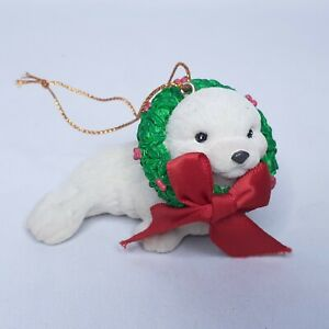 AGC-Inc-Vintage-Seal-With-wreath-and-Bow-Christmas-Ornament