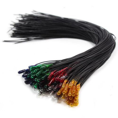 NEU 100 Stk Birnen Birnchen Fünf Farben 3mm 12V Set mit Kabel 18cm