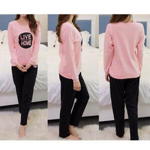 sneakers for cheap 4235c 9332c Details zu Damen Schlafanzug Hausanzug Pyjama Set Nacht Langarm Hemd+Hose  Pink DE