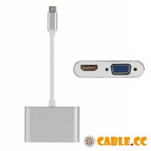 USB-3-1-Type-C-to-HDMI-4K-30HZ-amp-VGA-1080p-Adapter-for-Macbook-Pro-Monitor-HDTV