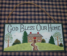 Classic Country wood sign~God Bless Our Home~ Great home decor