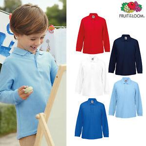 Fruit-of-the-Loom-FOTL-Boys-Girls-Kids-Long-Sleeve-65-35-Polo-Shirt-Top