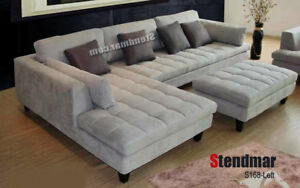 Details about 3-Piece Modern Grey Microfiber Sectional Sofa Set S168LG